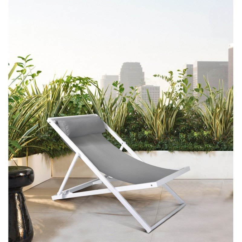 Armen Living Wave Outdoor Patio Aluminum Deck Chair in White Powder Coated Finish with Grey Sling Textilene (LCWALOWH)