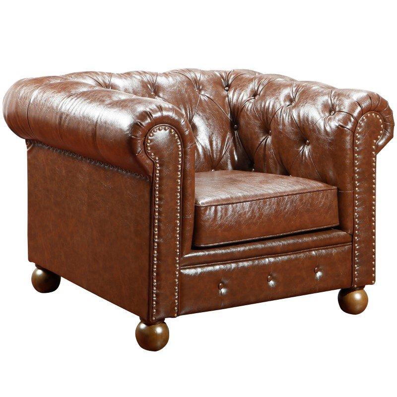Armen Living Winston Vintage Mocha Bonded Leather Sofa Chair