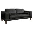 Armen Living Wynne Contemporary Loveseat in Genuine Black Leather with Brown Wood Legs (LCWY2BLACK)