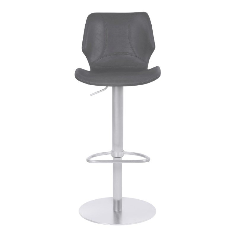 Armen Living Zuma Adjustable Metal Barstool in Vintage Gray Faux Leather with Brushed Stainless Steel Finish (LCZUBAVGBS)