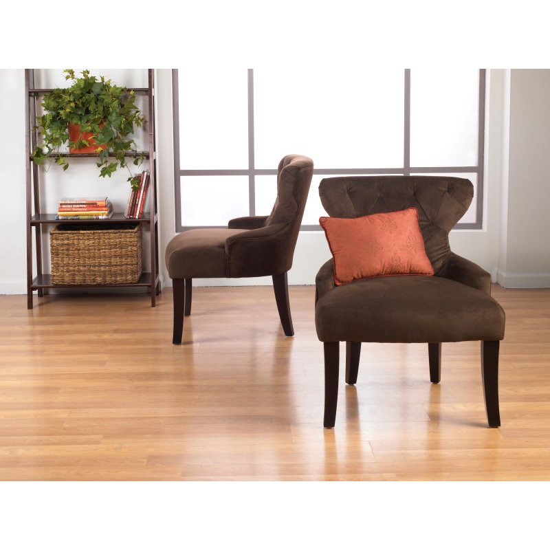 Avenue Six Curves Hour Glass Accent Chair in Chocolate