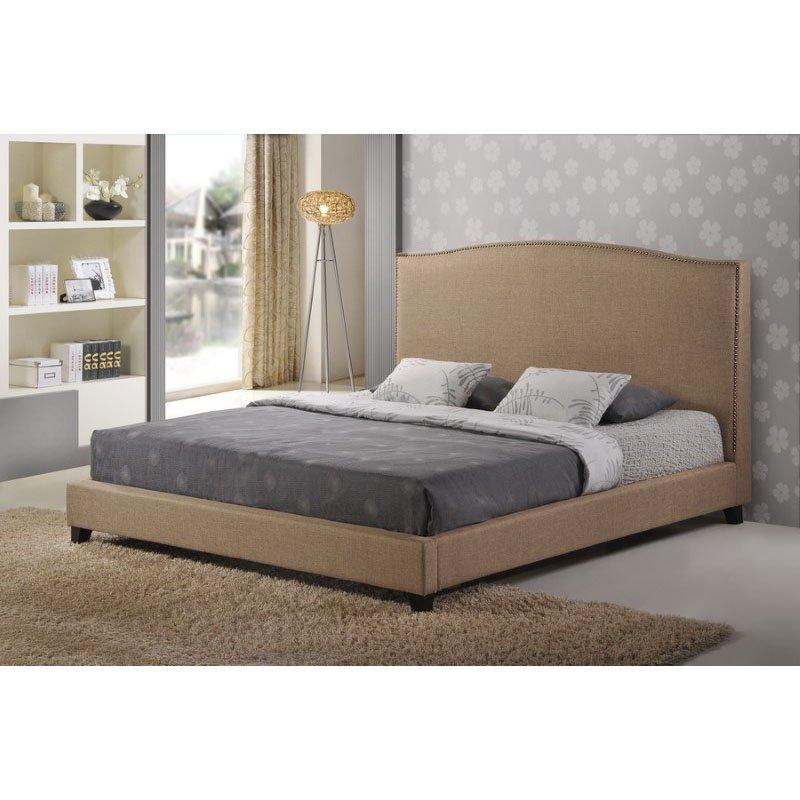 Baxton Studio Aisling Dark Beige Fabric Platform Bed in Queen Size