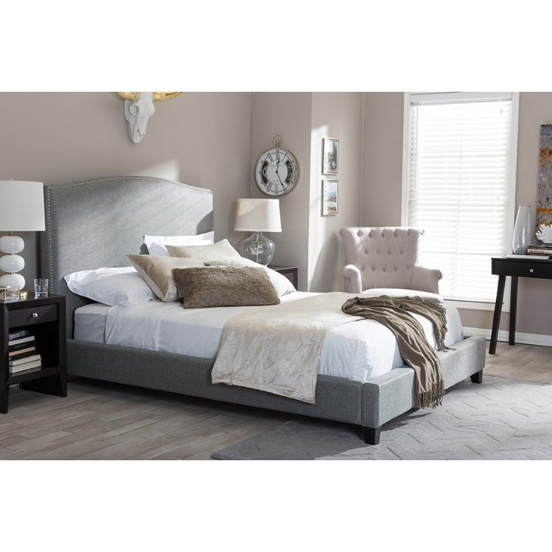 Baxton Studio Aisling Gray Fabric Platform Bed in Queen Size