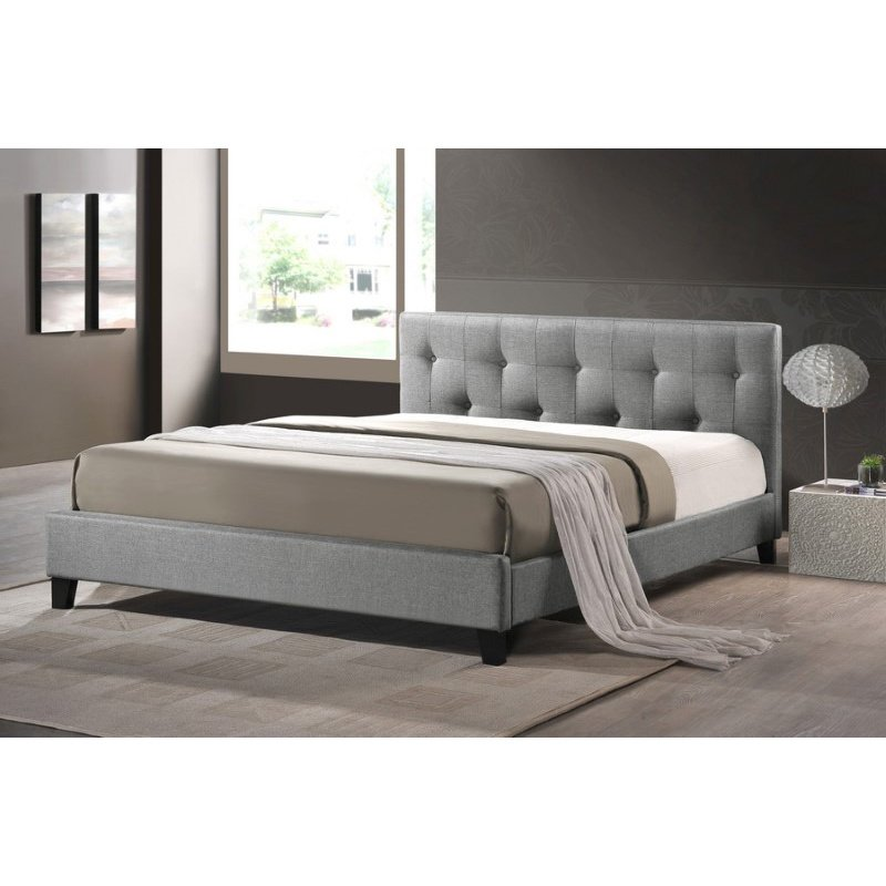 Baxton Studio Annette Gray Linen Modern Bed with Upholstered Headboard in Queen Size