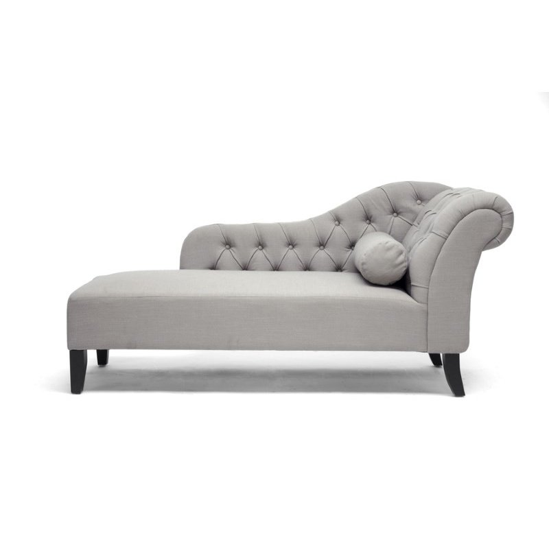 Baxton Studio Aphrodite Tufted Putty Gray Linen Modern Chaise Lounge