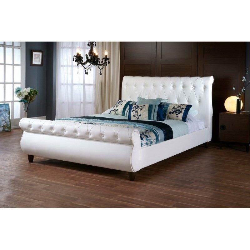 Baxton Studio Ashenhurst White Modern Sleigh Bed with Upholstered Headboard in Queen Size