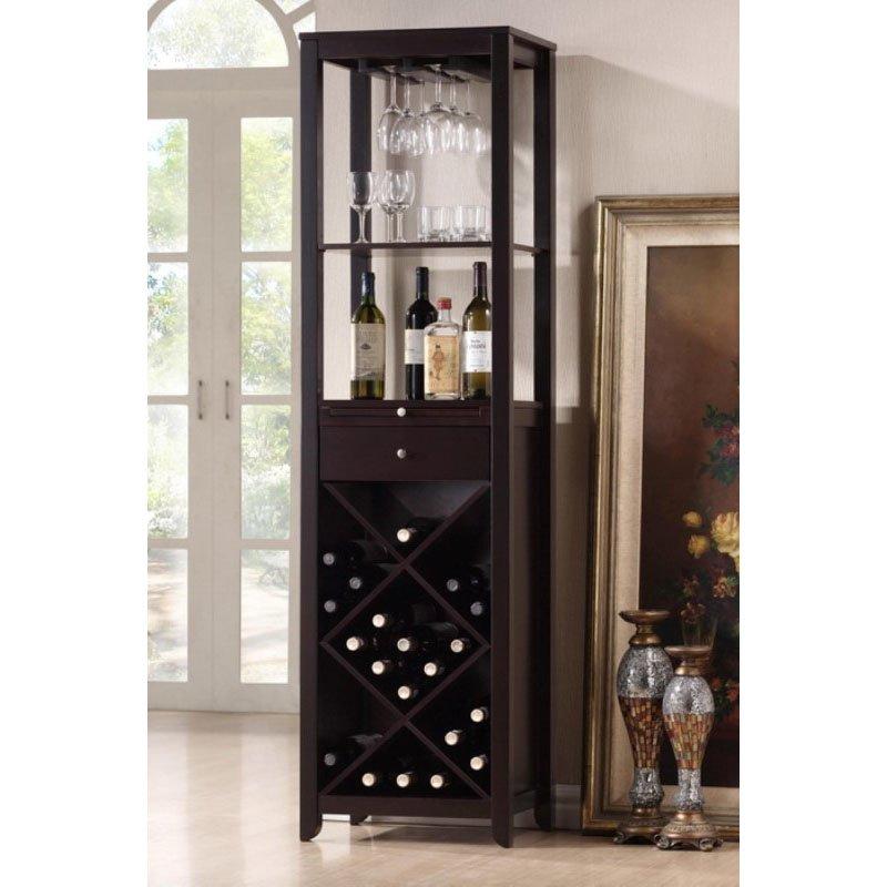 Baxton Studio Austin Brown Wood Modern Wine Tower