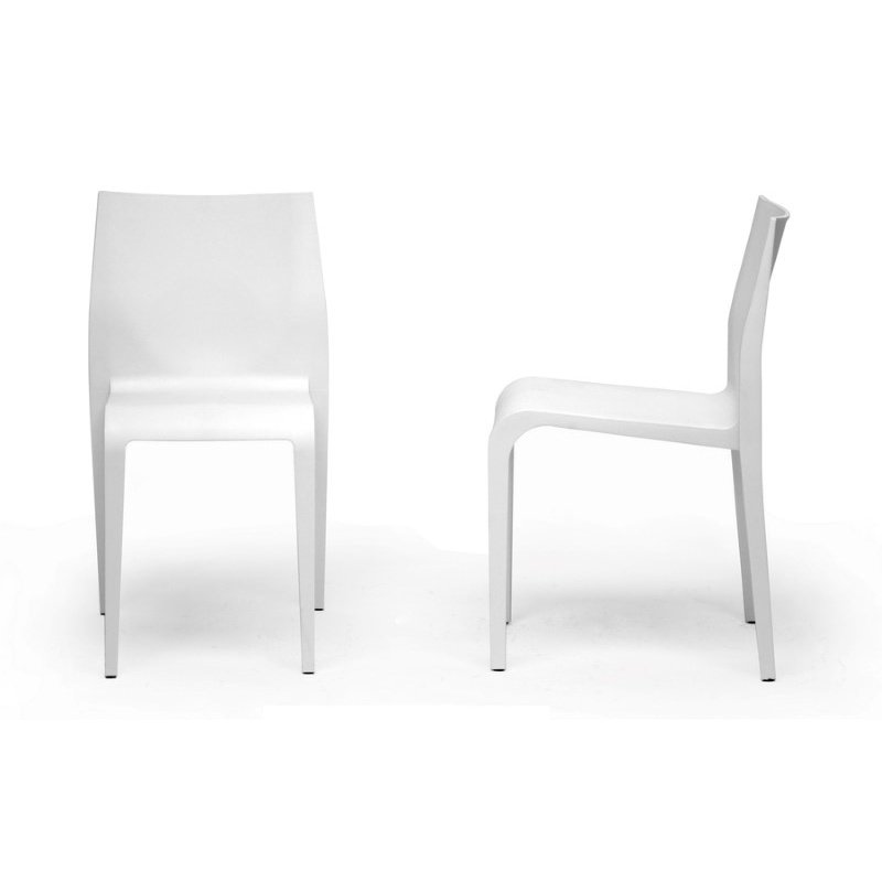 Baxton Studio Blanche White Molded Plastic Modern Dining Chair (Set of 2)