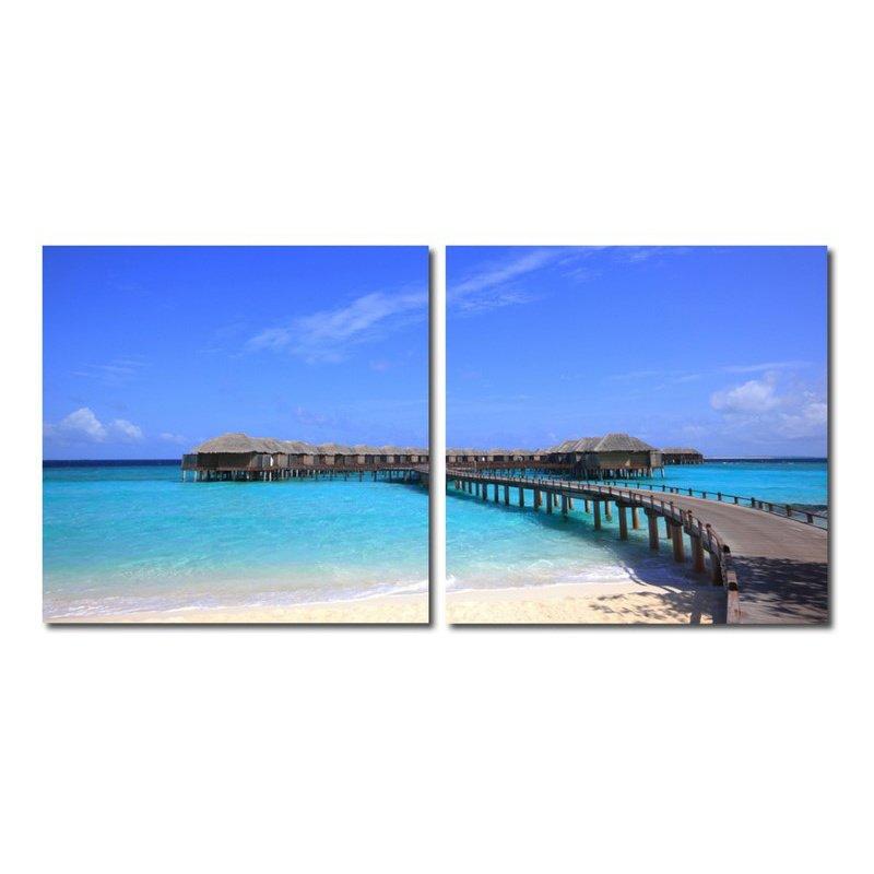 Baxton Studio Bridge to Paradise Mounted Photography Print Diptych