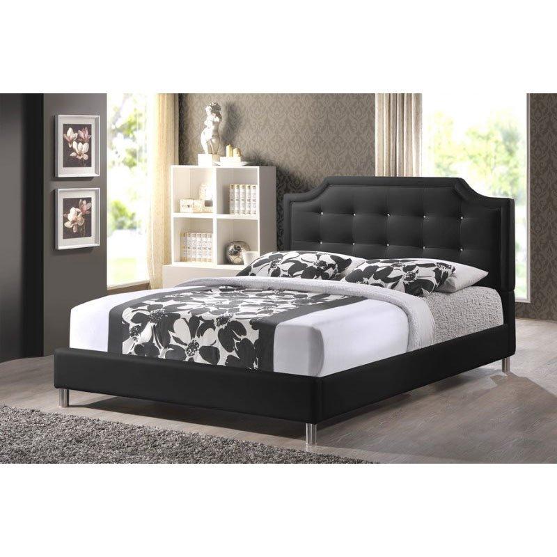 Baxton Studio Carlotta Black Modern Bed with Upholstered Headboard in Full Size