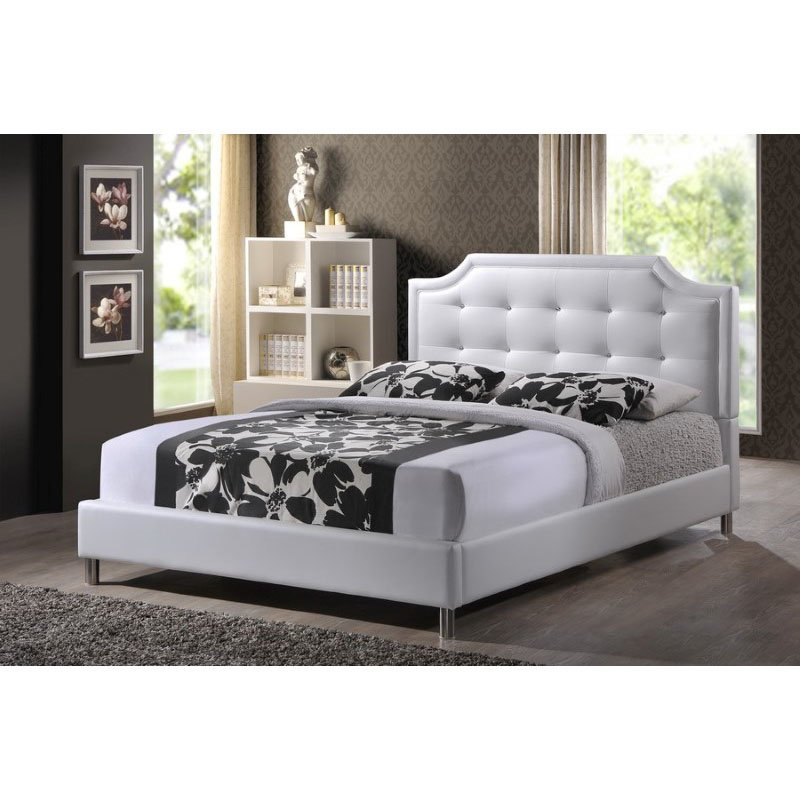 Baxton Studio Carlotta White Modern Bed with Upholstered Headboard in Full Size