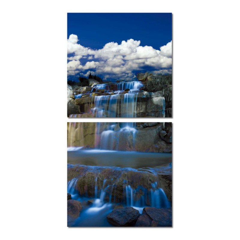 Baxton Studio Cobalt Cascades Mounted Photography Print Diptych