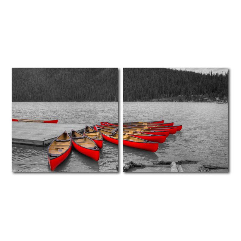 Baxton Studio Crimson Canoes Mounted Photography Print Diptych