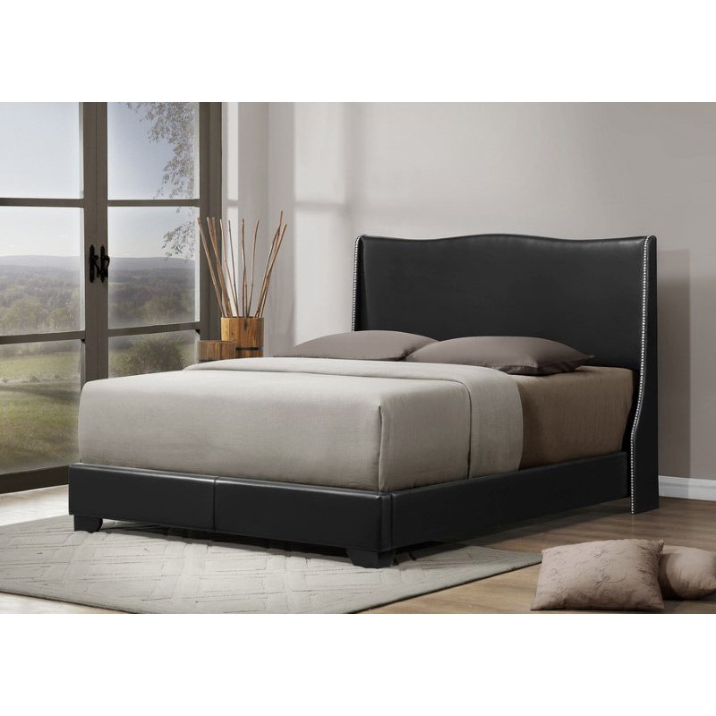 Baxton Studio Duncombe Black Modern Bed with Upholstered Headboard in Queen Size