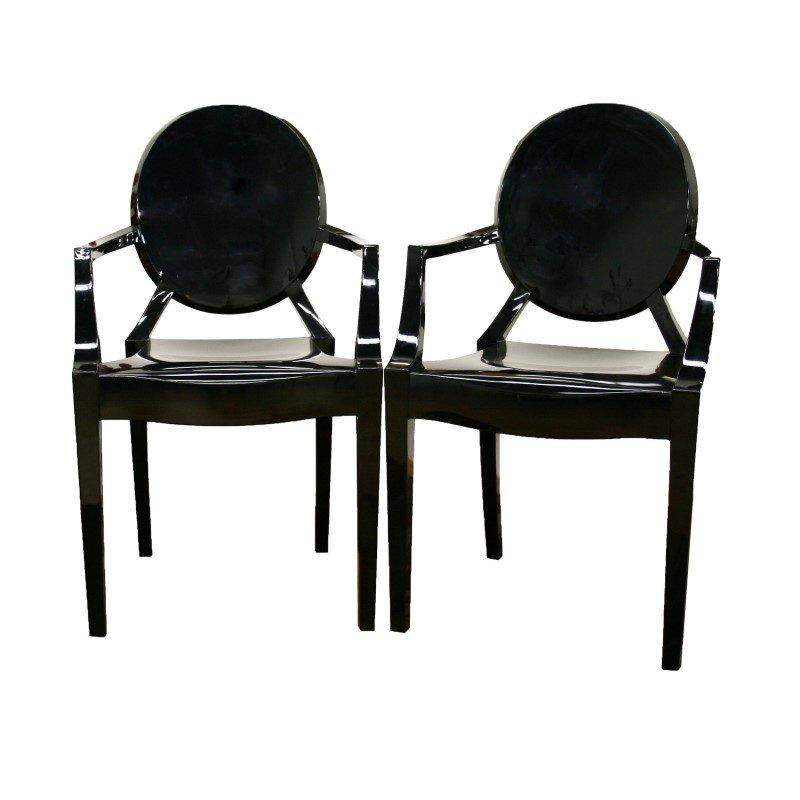 Baxton Studio Dymas Modern Acrylic Black Armed Ghost Chair (Set of 2)