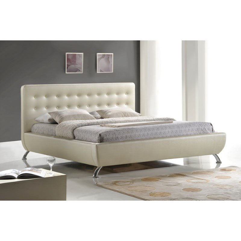 Baxton Studio Elizabeth Pearlized Almond Modern Bed with Upholstered Headboard in Queen Size