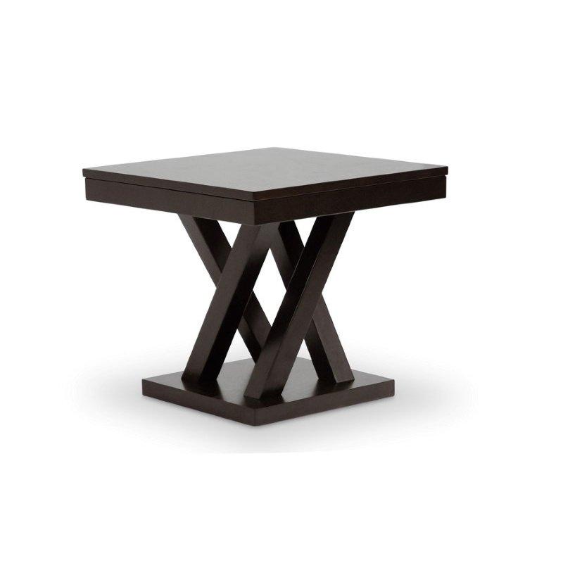 Baxton Studio Everdon Dark Brown Modern End Table