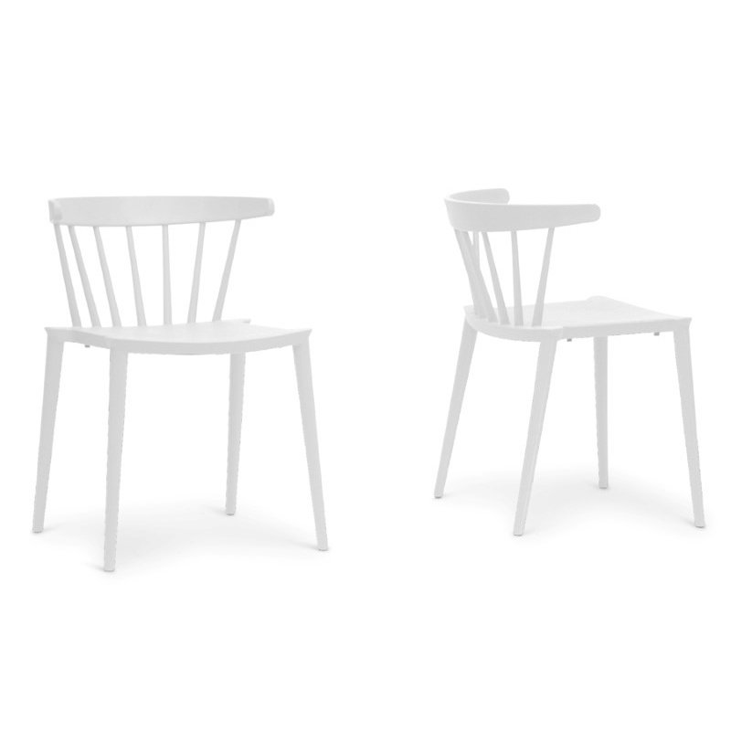 Baxton Studio Finchum White Plastic Stackable Modern Dining Chair (Set of 2)