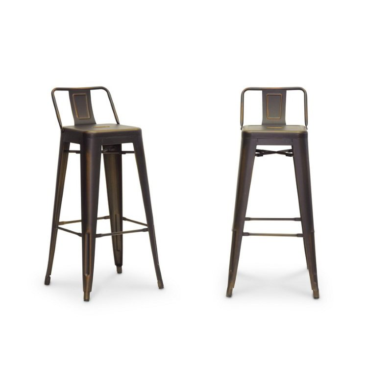 Baxton Studio French Industrial Modern Bar Stool in Antique Copper (Set of 2)