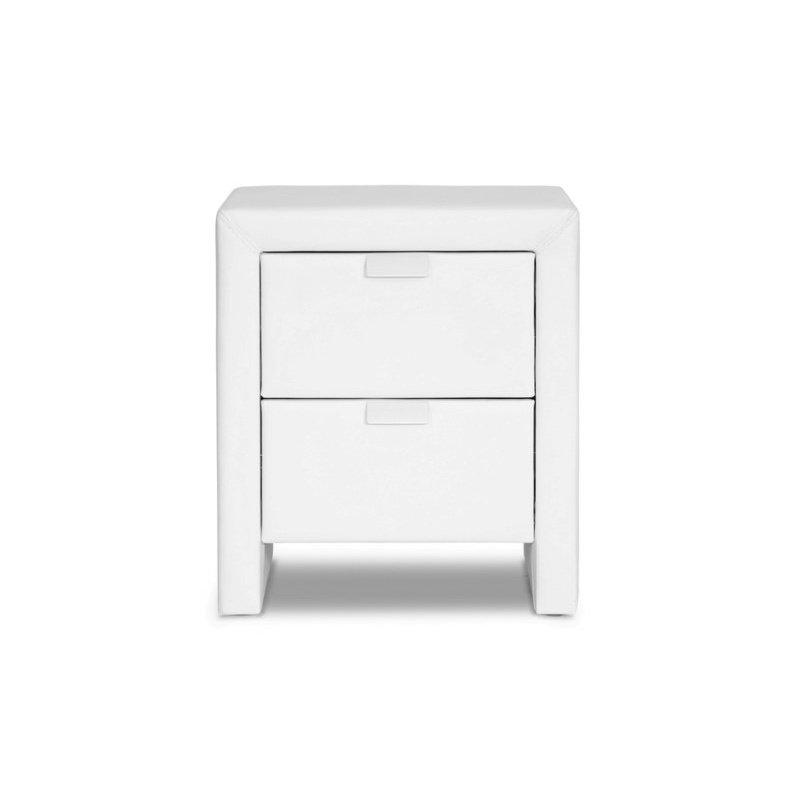 Baxton Studio Frey White Upholstered Modern Nightstand