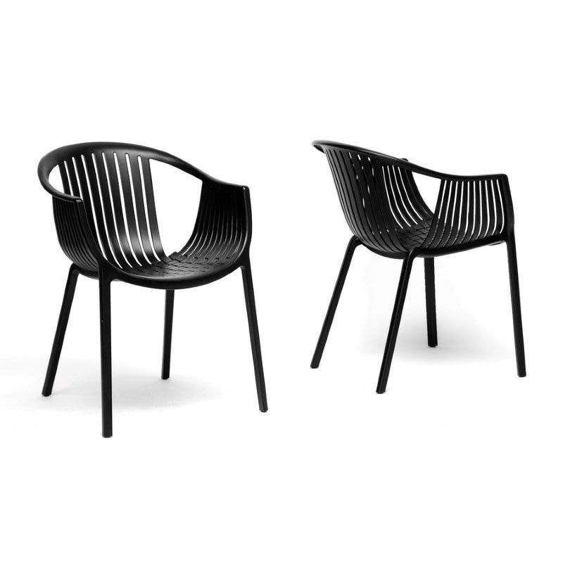 Baxton Studio Grafton Black Plastic Stackable Modern Dining Chair (Set of 2)