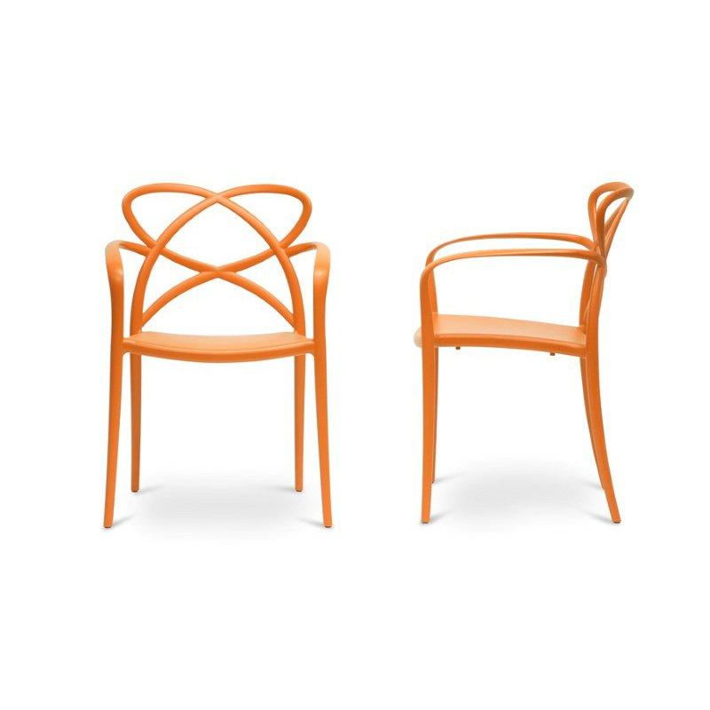 Baxton Studio Huxx Orange Plastic Stackable Modern Dining Chair (Set of 2)