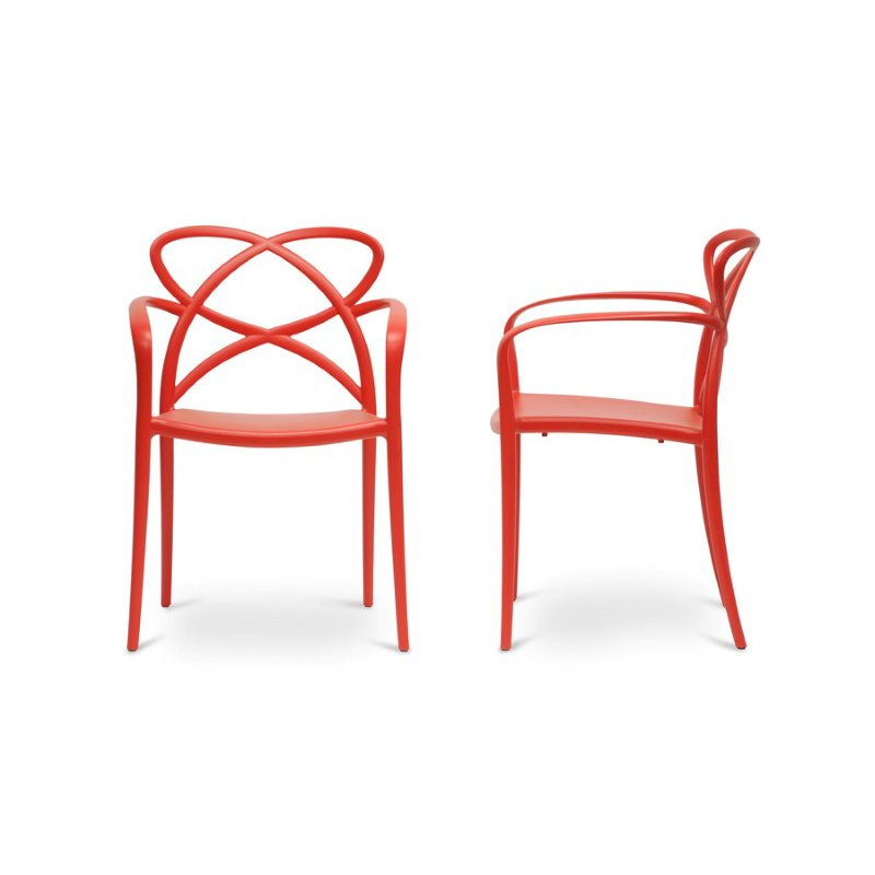 Baxton Studio Huxx Red Plastic Stackable Modern Dining Chair (Set of 2)