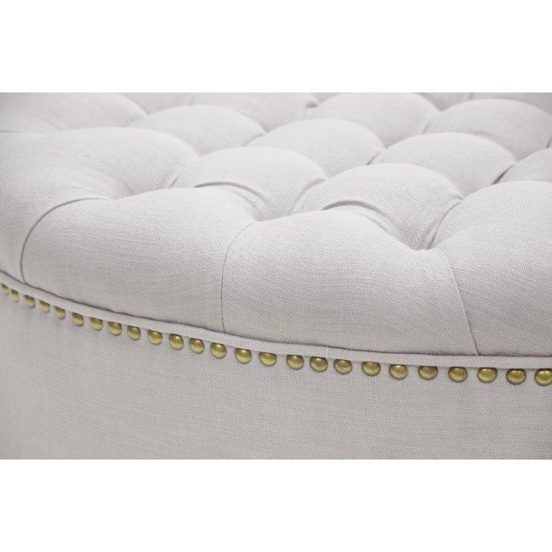 Baxton Studio Iglehart Beige Linen Modern Tufted Ottoman