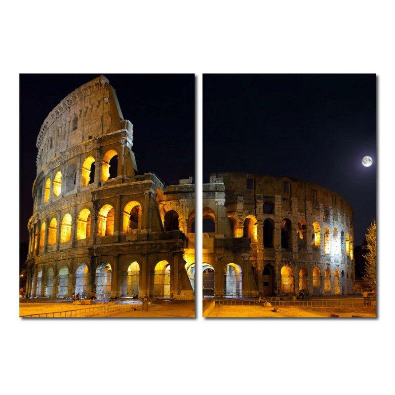 Baxton Studio Illuminated Coliseum Mounted Photography Print Diptych