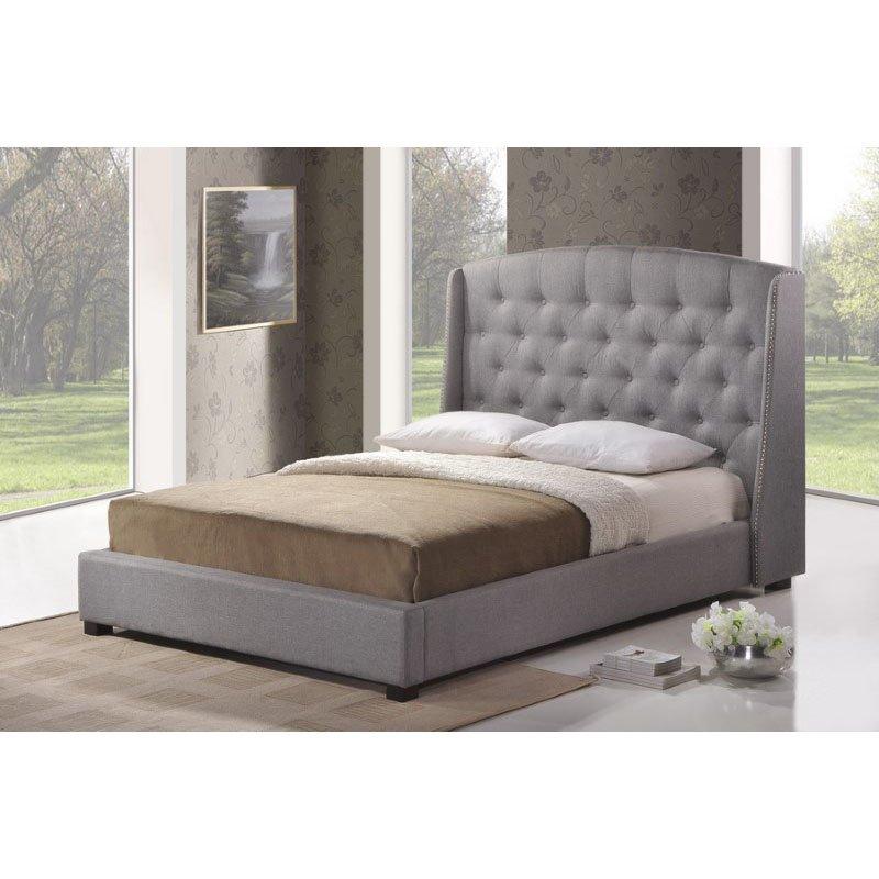 Baxton Studio Ipswich Gray Linen Modern Platform Bed in Queen Size