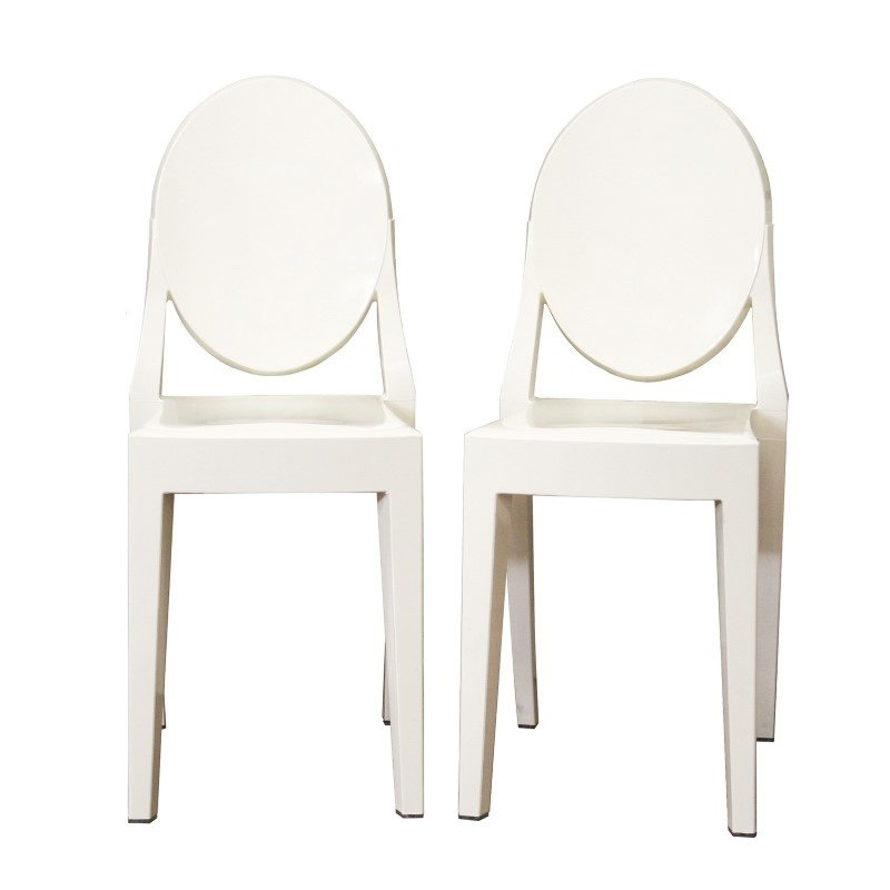 Baxton Studio Ivory Acrylic Ghost Chair (Set of 2)