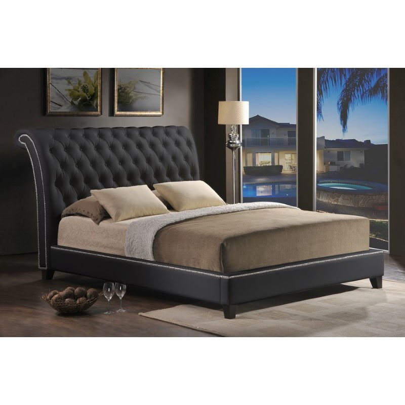 Baxton Studio Jazmin Tufted Black Modern Bed with Upholstered Headboard in Queen Size