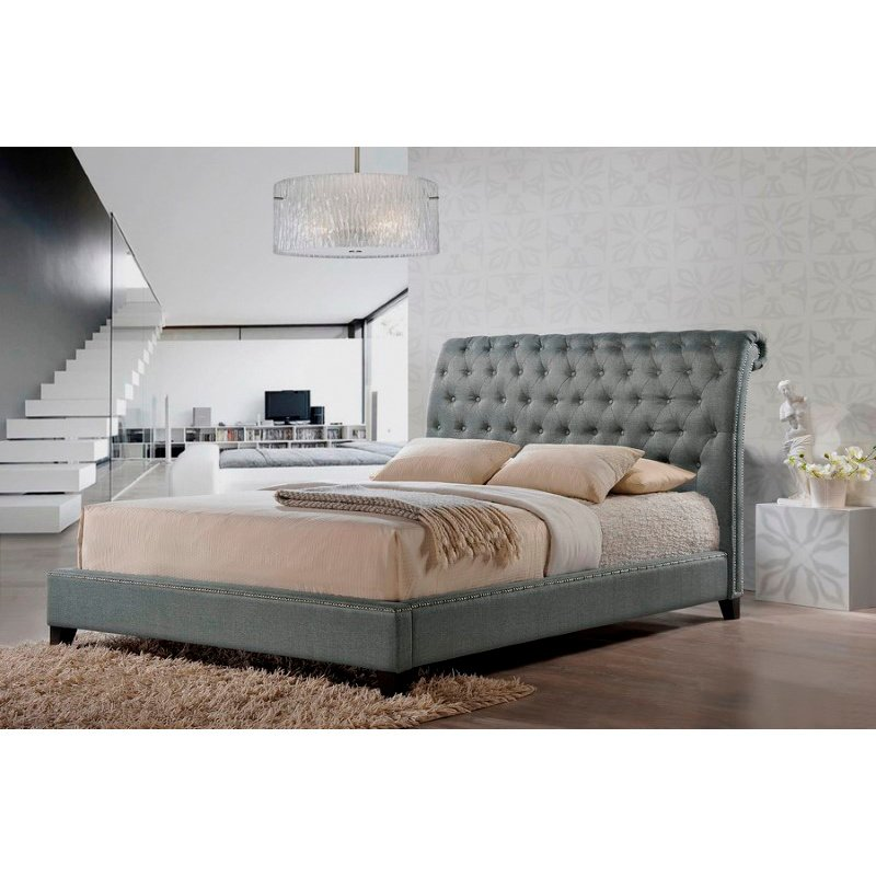 Baxton Studio Jazmin Tufted Grey Modern Bed with Upholstered Headboard in King Size
