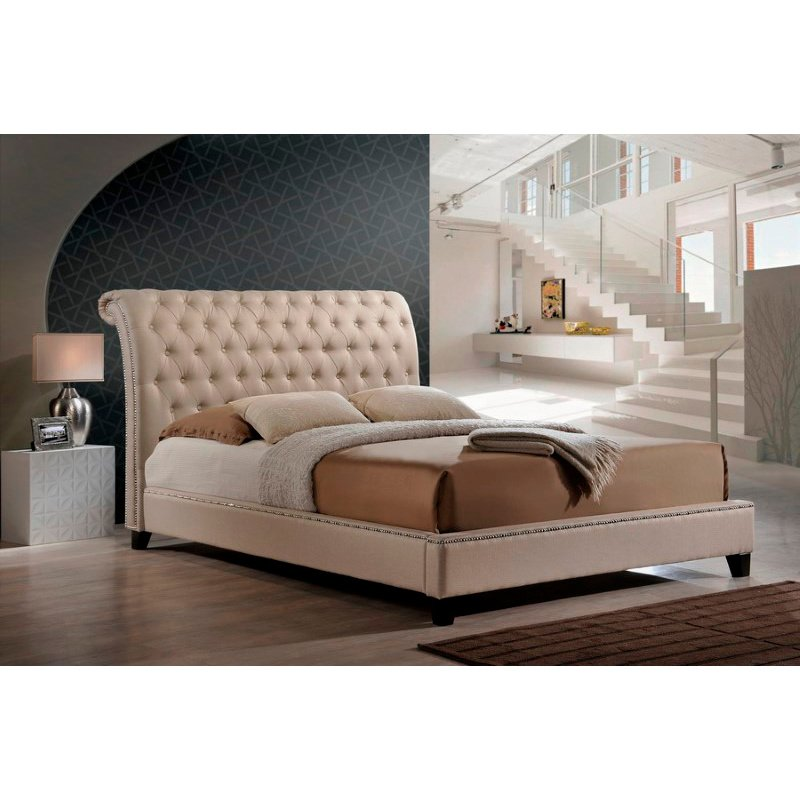 Baxton Studio Jazmin Tufted Light Beige Modern Bed with Upholstered Headboard in Queen Size