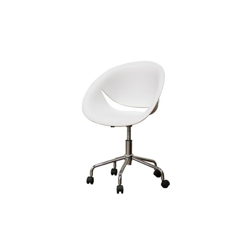 Baxton Studio Justina White Molded Plastic Modern Swivel Office Chair