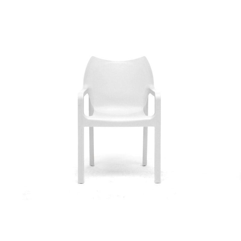 Baxton Studio Limerick White Plastic Stackable Modern Dining Chair (Set of 2)
