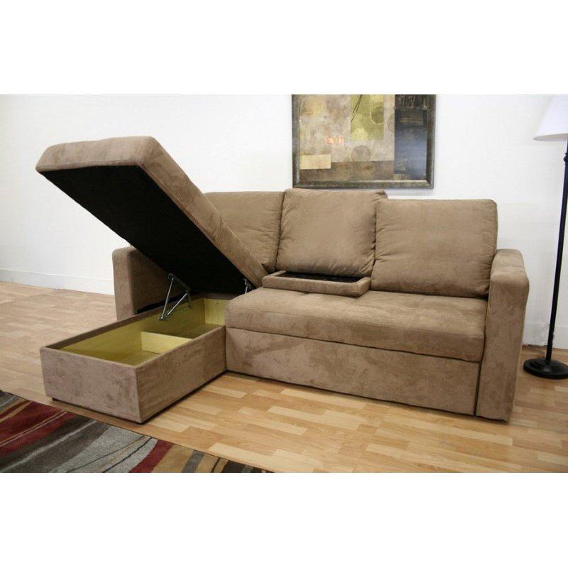 Baxton Studio Linden Tan Microfiber Convertible Sectional Sofa BedinLFC