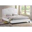 Baxton Studio Marsha Scalloped White Modern Bed with Upholstered Headboard in Queen Size