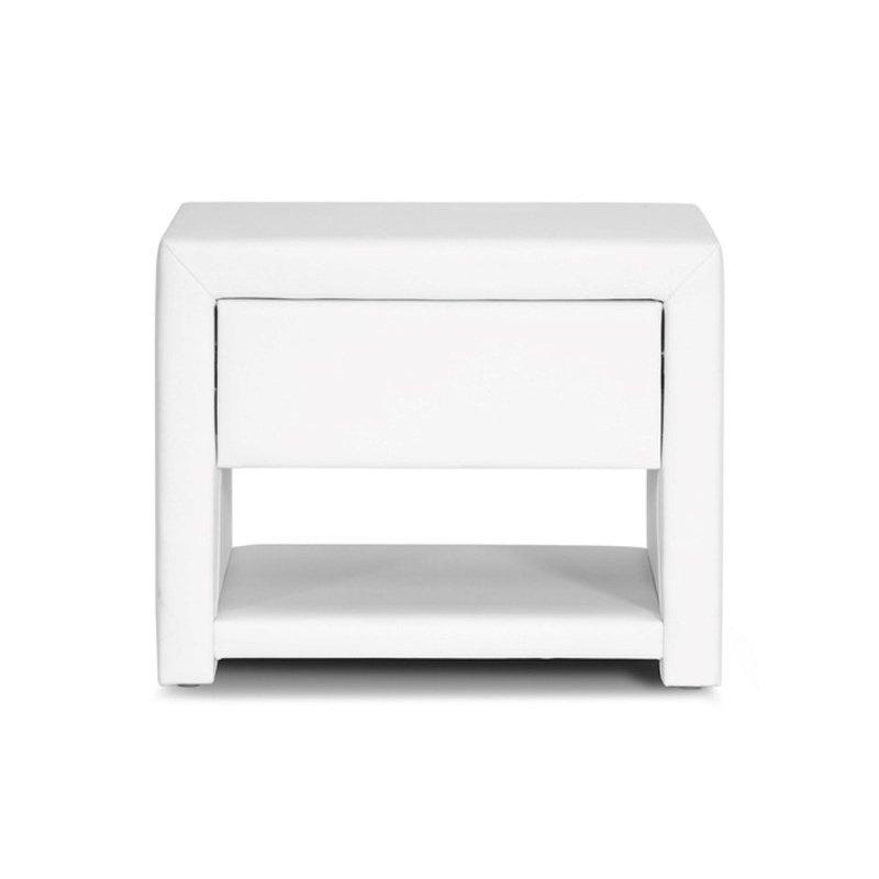 Baxton Studio Massey White Upholstered Modern Nightstand