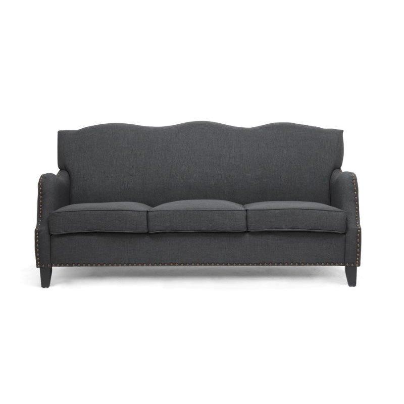 Baxton Studio Penzance Dark Gray Linen Sofa