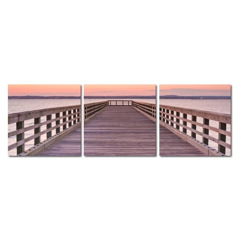Baxton Studio Pier Sunset Mounted Photography Print Triptych