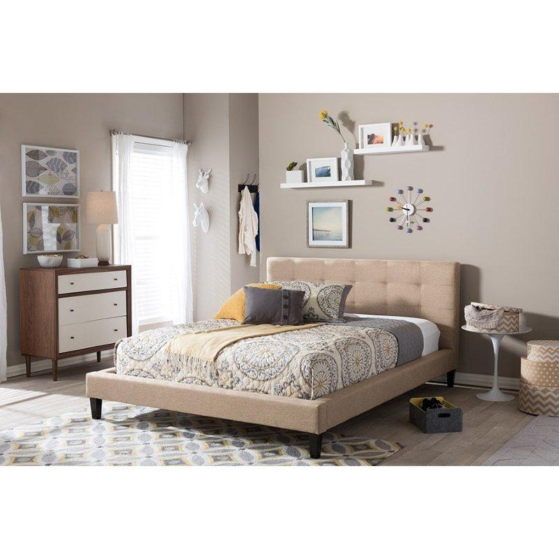 Baxton Studio Quincy Dark Beige Linen Platform Bed in Queen Size