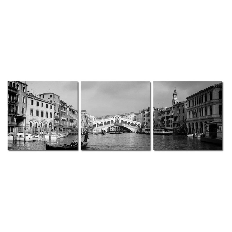 Baxton Studio Rialto Bridge Mounted Photography Print Triptych