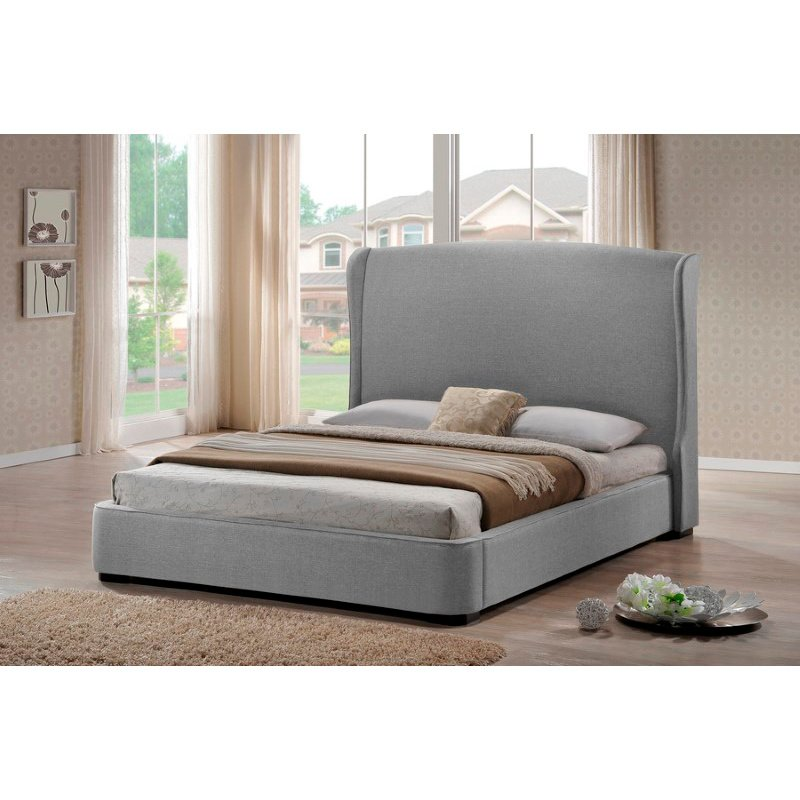 Baxton Studio Sheila Gray Linen Modern Bed with Upholstered Headboard in Queen Size