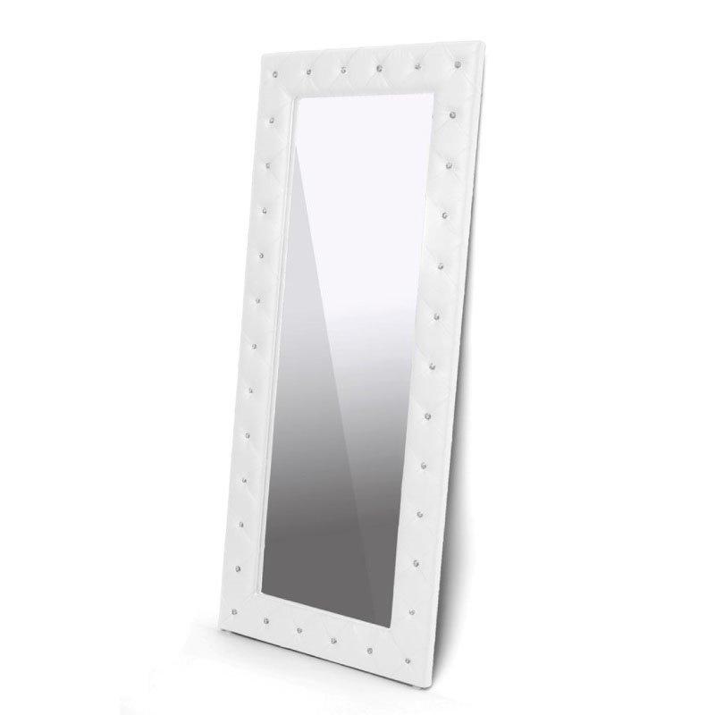 Baxton Studio Stella Crystal Tufted Modern White Faux Leather Floor Mirror