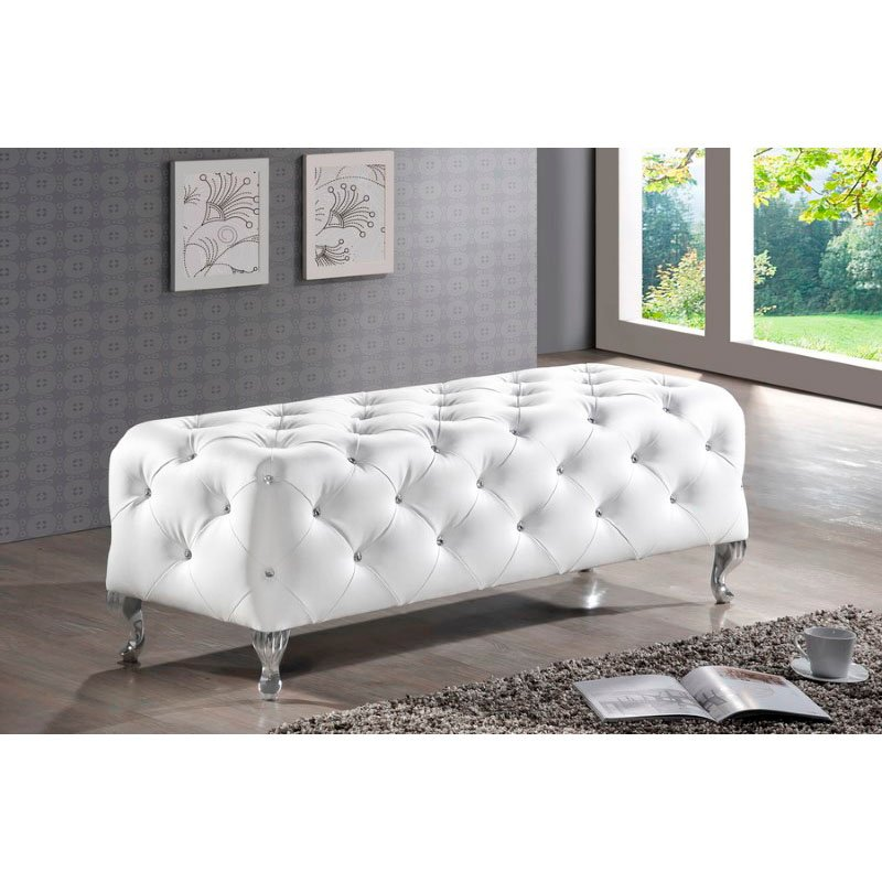 Baxton Studio Stella Crystal Tufted White Leather Modern Bench
