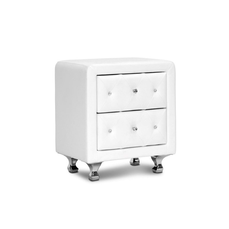 Baxton Studio Stella Crystal Tufted White Upholstered Modern Nightstand