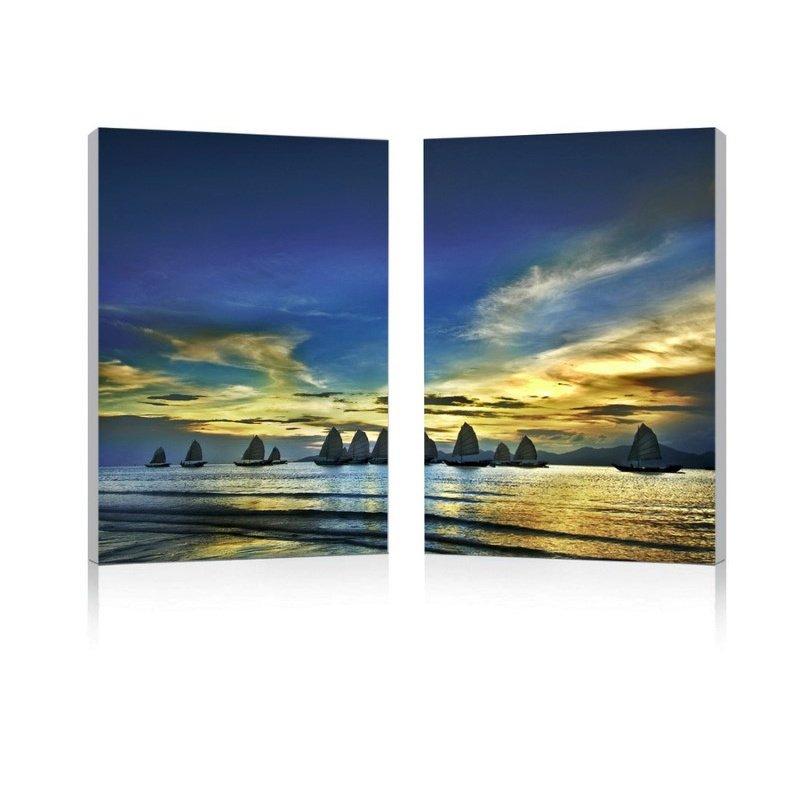 Baxton Studio Sunset Sails Mounted Photography Print Diptych