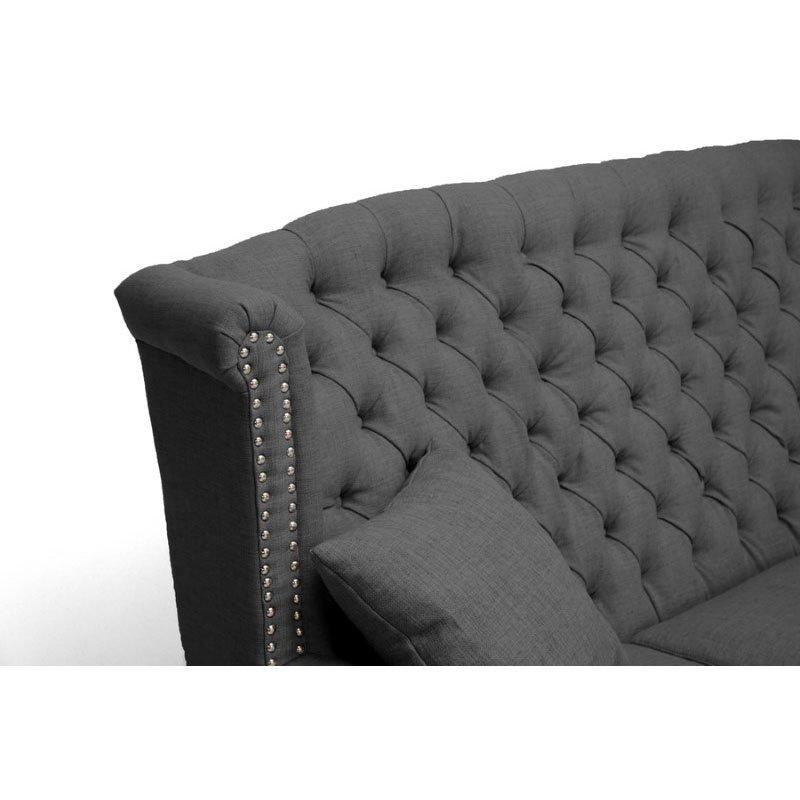 Baxton Studio Sussex Dark Gray Linen Sofa
