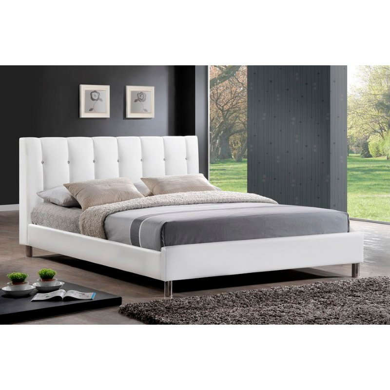 Baxton Studio Vino White Modern Bed with Upholstered Headboard in Queen Size